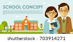 education concept with teachers ... | Shutterstock .eps vector #703914271