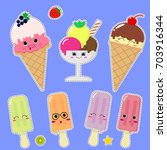 a set of different ice cream in ... | Shutterstock .eps vector #703916344
