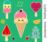 a set of different ice cream in ... | Shutterstock .eps vector #703916371