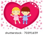 love card with young school... | Shutterstock . vector #70391659
