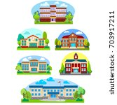 modern school buildings... | Shutterstock .eps vector #703917211