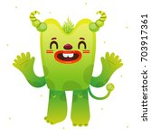 funny cartoon green monster ... | Shutterstock .eps vector #703917361