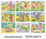 collection of fairy tale... | Shutterstock . vector #703918474