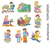 set of cute schoolchildren and... | Shutterstock . vector #703918504