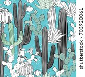 seamless pattern with cactus.... | Shutterstock .eps vector #703920061