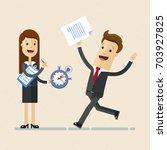 business woman holds a... | Shutterstock .eps vector #703927825