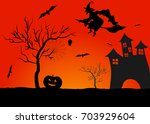haunted house in mystic spooky... | Shutterstock .eps vector #703929604