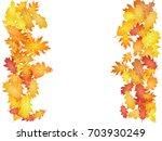 vertical borders of oak leaf... | Shutterstock .eps vector #703930249