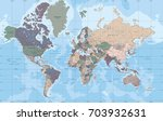 political world map in mercator ... | Shutterstock .eps vector #703932631