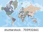 highly detailed political world ... | Shutterstock .eps vector #703932661