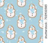 christmas gingerbread seamless... | Shutterstock .eps vector #703933585