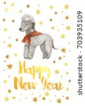 happy new year  2018. card with ... | Shutterstock . vector #703935109