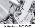 View of part of a chamber of a Scanning Electron Microscope (SEM)