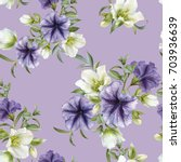 floral seamless pattern with... | Shutterstock . vector #703936639