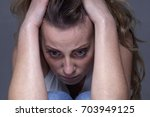 everything is bad. woman in... | Shutterstock . vector #703949125