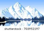 vector illustration   lake in... | Shutterstock .eps vector #703952197