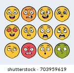 cartoon faces  colored   ... | Shutterstock .eps vector #703959619
