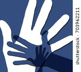 family. child and parents hands ... | Shutterstock .eps vector #703962211