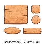 vector set with cartoon wooden...