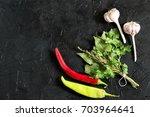 bouquet garni and spicy... | Shutterstock . vector #703964641