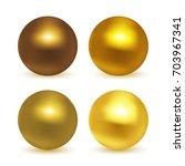 gold  glossy sphere set... | Shutterstock .eps vector #703967341