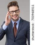 elegant man wear glasses  | Shutterstock . vector #703968511