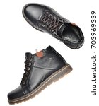male leather short boots... | Shutterstock . vector #703969339