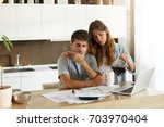 picture of frustrated young... | Shutterstock . vector #703970404