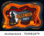 halloween night background with ... | Shutterstock .eps vector #703981879