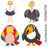 Four Types Of Birds On White...