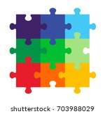 nine part puzzle | Shutterstock .eps vector #703988029