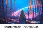 woman standing alone in forest... | Shutterstock . vector #703988035