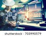 double exposure of engineer or...   Shutterstock . vector #703990579