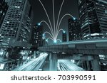 smart city and internet line in ...   Shutterstock . vector #703990591