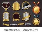 set of vector golden badge with ...