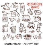 mexican cuisine  sketch doodle... | Shutterstock .eps vector #703994509