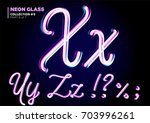 3d glass letters with night... | Shutterstock .eps vector #703996261