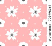cute flowers and polka dot.... | Shutterstock .eps vector #703996369