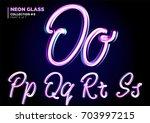 neon glowing 3d typeset. font... | Shutterstock .eps vector #703997215