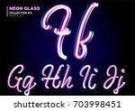 neon glowing 3d typeset. font... | Shutterstock .eps vector #703998451