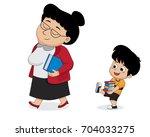 the children help the teacher... | Shutterstock .eps vector #704033275