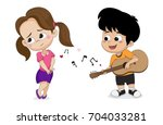 boy playing guitar for girl in... | Shutterstock .eps vector #704033281