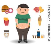 fat man doing waistline with... | Shutterstock .eps vector #704037619