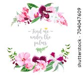 exotic tropical round floral... | Shutterstock .eps vector #704047609