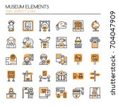 museum elements   thin line and ... | Shutterstock .eps vector #704047909