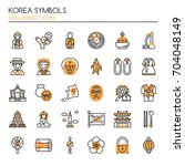 korea symbols   thin line and... | Shutterstock .eps vector #704048149