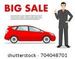 car showroom. big sale. manager ...   Shutterstock .eps vector #704048701