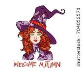 welcome autumn. beautiful girl. ... | Shutterstock .eps vector #704052571