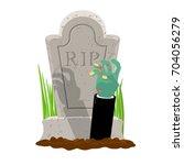 halloween. grave and hand of... | Shutterstock .eps vector #704056279