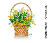 basket with a bouquet of spring ...   Shutterstock .eps vector #704056387
